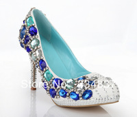 2014 New Designer Crystal Women Pumps Elegant Round Toe Wedding Shoes