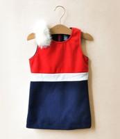 6pieces/lot Fur Shoulder Patchwork Girls Kids Winter Autumn Dresses Baby Wear, C-L-QQ3