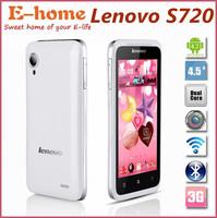 "Promotion Original Lenovo S720 S720i phone MTK6577 Dual Core 512M 4G Dual SIM 4.5"" Screen 3G GPS WIFI Russian Support Free Case"