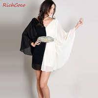 Free shipping women chiffon dress with asymmetrical panelled patchwork pleated batwing sleeve V-neck blackless fashionD172