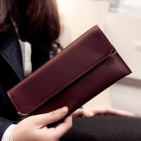2014 New Women Purse Fashion Designer Thin High Quality Vintage Genuine Leather Wallet Female Long Cowhide Slim Black wallet