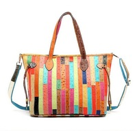 Free shipping Bermuly 2014 New leather fashion bag lady shoulder diagonal striped big hand handbags