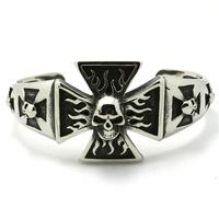 Mens Silver Polishing  Cross Flame Skull Bangle Stainless Steel Bracelets Boy's Biker Bracelet&Bangle Punk New Gift