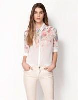 2014 High Quality Women's Floral Chiffon Blouses Fashion Brand Shirt Women