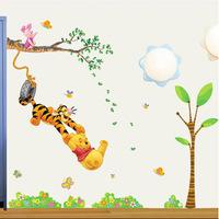 Free shipping Winnie the Pooh cartoon children bedroom Hot selling decorate sticker DIY Decoration Fashion Wall Sticker