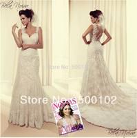 2014 Glamorous Vestidos Appliqued Sleeveless Sheer Back Mermaid Wedding Dresses