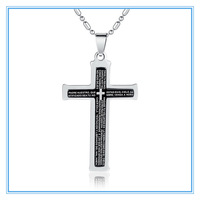 (50 pcs/lot) Big Size 75x38x4 mm Silver  Black Stainless Steel Cross Bibles Pendants  Necklaces with Chain Wholesale Lots