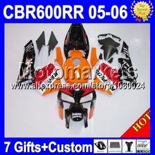 Mmk75 + 7 подарки для HONDA CBR600RR F5 05 06 CBR600 RR оранжевый красный 05 — 06 CBR 600 600RR CBR600F5 2005 2006 CL340 Repsol зализа комплект
