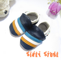 Free shipping SOFT LEATHER BABY SHOES 0-6, 6-12, 12-18, 18-24 Mth stripe NO.BS026