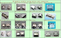 free shipping 16 models widly use micro usb connector 160pcs/lot charging port for mobile,tablet,MP3,MP4 for replacement