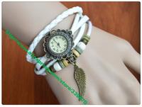 Wholesale Fashion Women Genuine Leather Copper Vintage Watch bracelet Wristwatches 100pcs quartz watch Wrap watch free shipping