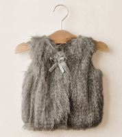 5pieces/lot Grey Knitted Winter Autumn Children Girls Fur Waistcoat, L-B1