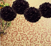 "Free Shipping--10""(25cm) 50pcs Black Tissue Paper Pom Poms Flower Ball Wedding Favor Party Decor-Mixed 20 Colors uPick"