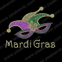 Wholesale 30Pc/S Free Dhl Shipping Mardi Gras Rhinestone Motif Iron On Heat Transfer Hotfix Appliques For Clothing