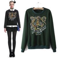 New Fashion 2014 Women sweatshirt  animal Sweatshirts Funny  tiger   embroidered  sweaters hoodies Top sale