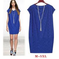 Women autumn dress new 2014 high end temperament slim short sleeve plus size casual dress vestidos M ~ 5XL