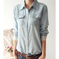 2014 spring women denim shirt fashion vintage long-sleeve slim Floral plus size shirt  free shipping xc-1257