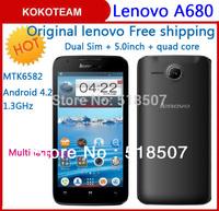 In stock Mobile smart Original Lenovo A680 5.0inch phone Multi language cellphone 3G WCDMA  512M RAM 4G ROM Quad core MTK6582