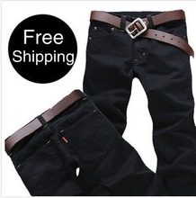 Free Shipping retail & wholesale Men's trousers,Leisure&Casual pants, Newly Style Zipper Black Straight Cotton Fashion Men Jeans(China (Mainland))