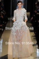 EG-651 Floor Length Cap Sleeve A-Line Scalloped Tulle Lace Flowers Appliques Flowers Full Sleeve Zuhair Murad Evening Gown