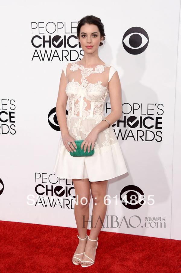 40th People Choice Awards Modest Mini Scoop Sleeveless Appliqued Adelaide Kane Celebrity Dress(China (Mainland))