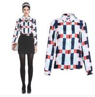 Hot 2014 plus size fashion lattice casual cotton blouse plaid printed lady shirt vintage design long sleeve slim women blouses