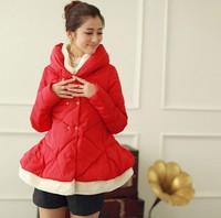 Plus size winter maternity down coat thickening female medium-long cloak large fur collar down coat maternity clothing