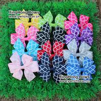 2014 New design handmade Quatrefoil printed ribbon hair clips pretty Quatrefoil children hair accessory