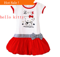Cute White Red Trendy  Birthday Summer Party hello kitty Girls Dress ,Children's short-sleeved cotton kids clothes