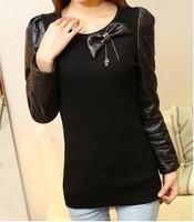 2013 vest down cotton turtleneck sweater slim leather female basic shirt