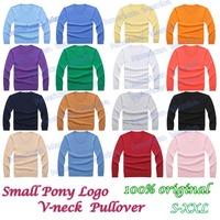 R-L 2014 Spring Men V-neck small Pony Logo Polo sweater,cardigan men long sleeve casual golf pullover/100% cotton&Original