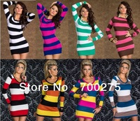8 Colors 2014 New Fashion Women Elegant Colorful Striped Long Sleeve Autumn Winter Casual Dress Bodycon Bandage Dress