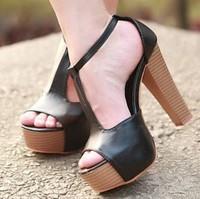 2014 Summer Sexy T-strap Chunky High Heels Sandals Women Summer Wooden Pump Shoes platforms sandalias Black Pink Color. SHP41023