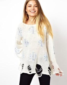 весной и летом 2014 wildfox отверстие свитер женщин снежинка печать свободные тонкий связанный пуловер свитер