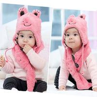 Kids Baby Children Cute Frog Hat+Scarf 2 Pcs Set Cashmere Animal Cap 1-6 Years Free shipping&Drop Shipping