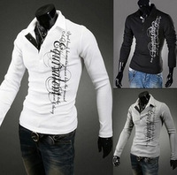 3PCS 20%OFF Free Shipping 2014 Hot! Men's T-Shirts,Printing Letters Slim Male  Long-sleeve Shirt Size:M-XXL PL2013