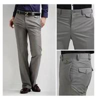 [K08]Hot Sale Free Shipping Men's Suit Pants Flat Business Casual Trousers Slim korean Fashion Dress Pants,Grey/Black 28-33