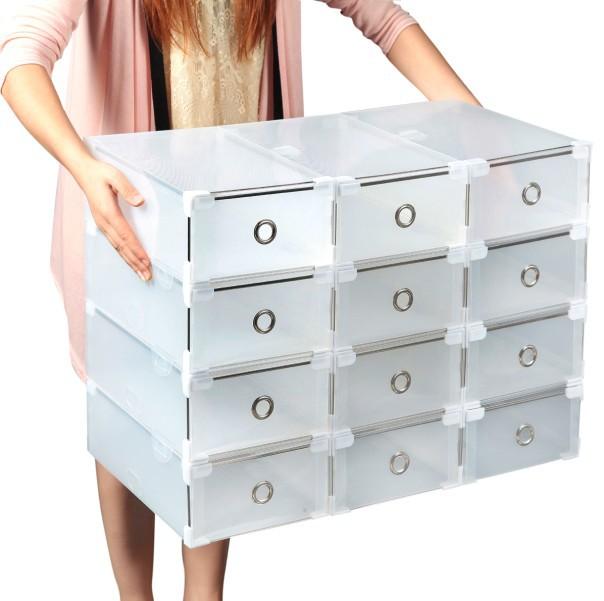 O envio gratuito de Metal transparente caixa de sapatos bainha de cristal espessamento plástico caixa de sapatos gaveta caixa de armazenamento de sapatos(China (Mainland))