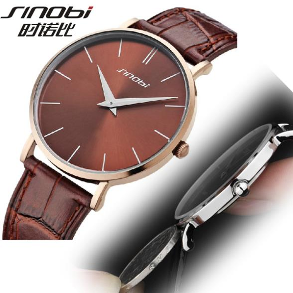 2014 New SINOBI Brand Genuine Leather Strap Watch for Mens Man Slim Quartz Analog Military Watch Waterproof Wristwatch(China (Mainland))