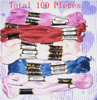Discount Shop 1 Lot= 100 Pieces Cross Stitch Wire/Thread Floss Skein Similar DMC Cotton Thread Free Shipping