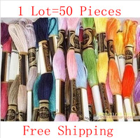 Lasted New Cross Stitch Thread Total 50 Pieces Cotton Knitted Wire Free Shipping