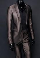 custom men suit jacket pant set Business casual suit set glossy male wedding dress slim  night suits fashion coffee