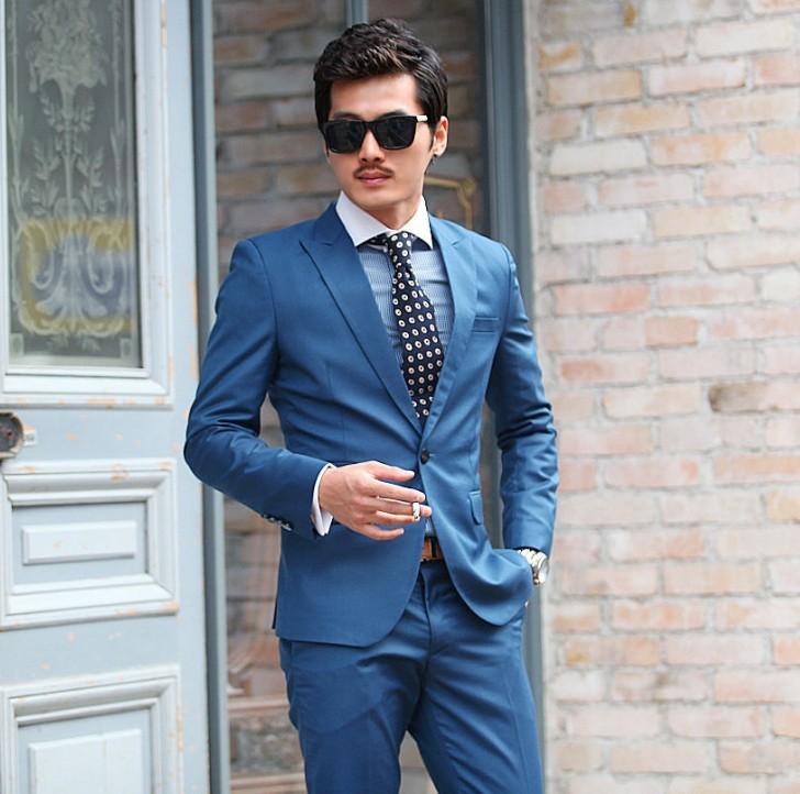 Бизнес морской синий костюмы комплект куртка + брюки свободного покроя мужчины в одежда вилочная часть приталенный костюмы обычный свадьба костюмы