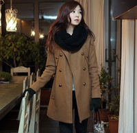 Formal slim double breasted long design long-sleeve woolen wool women's outerwear overcoat women's jacket