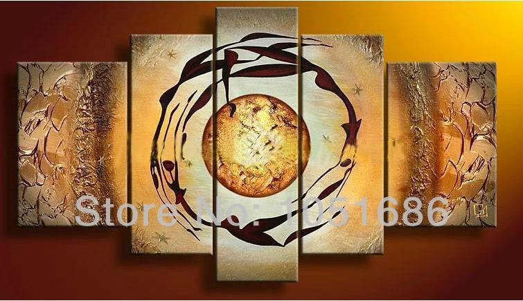Mão 5 painel parede de acrílico Sun painel pinturas definir Home Decor imagem(China (Mainland))