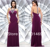 Sparkle 2014 Passion Prom Dresses Beaded Rhinestone Halter Top T Back Sleeveless Bodice Ruched Jersey Evening Gown