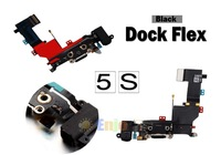 Black Charging Port Dock Connector Headphone Jack Mic Flex Cable Ribbon for Apple IPhone 5S AT&T Verison Sprint
