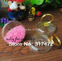 20set/lot 34MM  Round Glass Bubble Vial Ring Liquid Metal Mesh Ring DIY(glass bubble+ring)