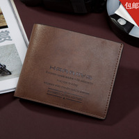 Hot 2014 New Stylish Letter Print Men Wallet Genuine Leather Pockets Clutch Center Bifold Purse100% guarantee 58-1 Free Shipping