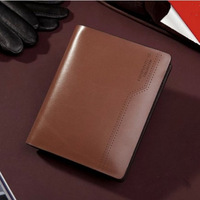 2014 New Hot Sales Fashion Wallet Men's Short Design Cowhide Genuine Leather Wallet Card Holde Brown Color Drop Shipping